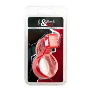 Насадка силиконовая cо стимулятором клитора, красная
