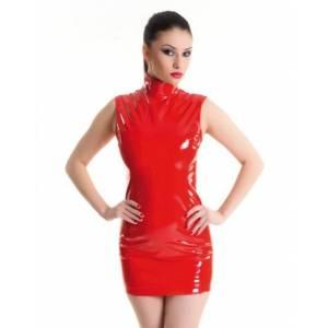 Платье на молнии красное-L