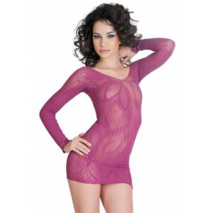 Платье бесшовное с рукавами, с цветочным рисунком, пурпурное-S/L