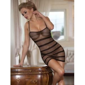 Платье-сетка с полосками черное-OS