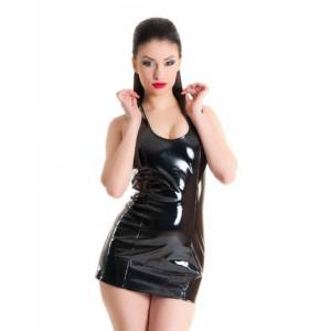 Платье из лаковой иск. кожи со шнуровкой на спине черное-S