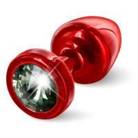 Красная втулка DIOGOL Anni с черным кристаллом Swarovski