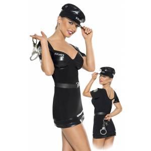 Костюм полицейского из 2-х предметов черный-L