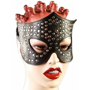 Очки-маска, чёрная, декорированная заклёпками на кожаной подкладке