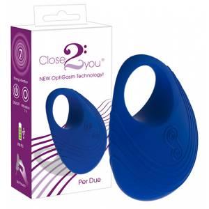 Виброкольцо для пениса Per Due синее
