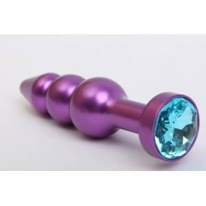 Пробка металл фигурная елочка синяя с фиолетовым стразом 11,2х2,9см