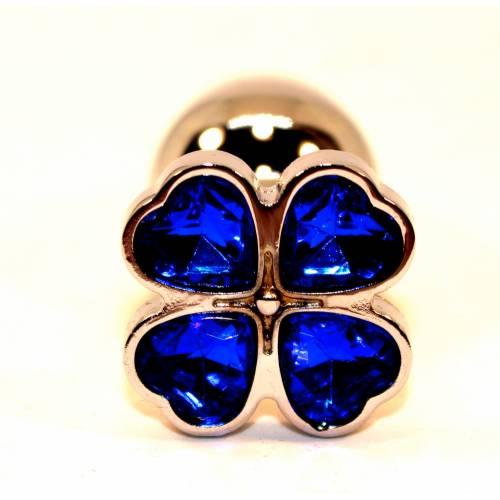 Пробка анальная металл 7,5х2,8см с сердечком синий страз