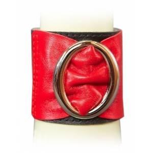 Браслет чёрно-красный с овальной пряжкой, размер универсальный