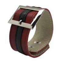 Браслет красно-чёрный с прямоугольной пряжкой, размер универсальный
