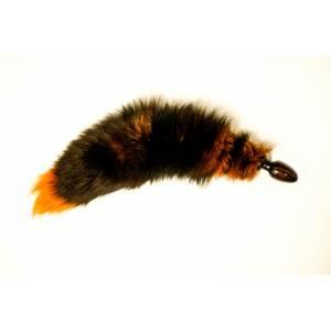 Анальная пробка черного цвета диам.32мм с тонированным оранжевым хвостом