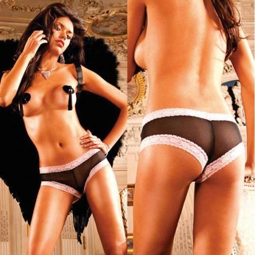 Angel Трусики женские черные с розовым