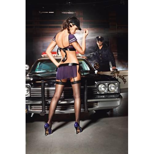 Чулки Night Patrol Police с узором высокие черные