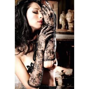Beauty Inside The Beast Перчатки черные длинные кружевные