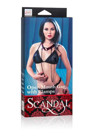 Кляп-рамка Scandal Open Mouth Gag with Clamps с зажимами на соски черный с красным