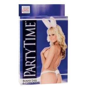 Костюм Party Time Bunny Ears and Cottontail: ушки зайчика и крепление для фаллоимитатора  бело-розов