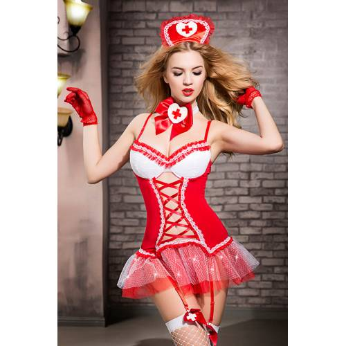Костюм медсестры Candy Girl Gesabelle (платье, перчатки, стринги, чулки, чокер, головной убор, банты),красно-белый, OS