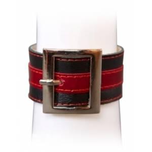 Браслет чёрно-красный с квадратной пряжкой, размер универсальный