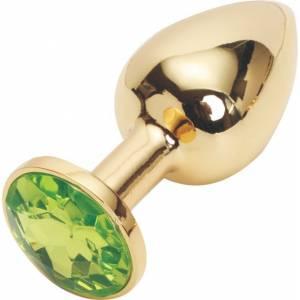Анальная пробка золотая с зеленым кристаллом
