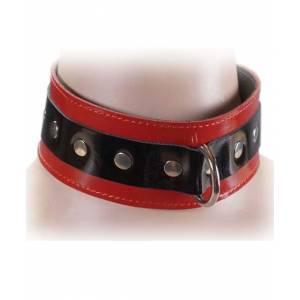 Ошейник широкий, лакированный, чёрно-красный, ширина 50 мм, размер универсальный