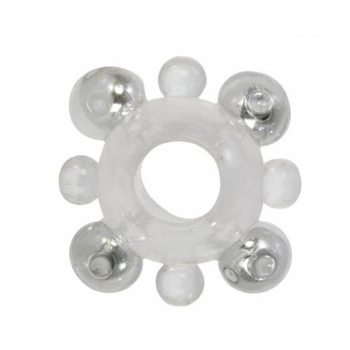 Эрекционное кольцо Basic Essentials - Enhancer Ring with Beads с бусинами прозрачное
